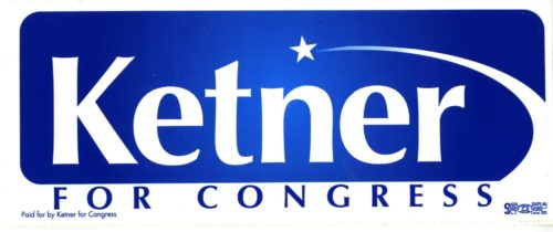 "Blue and white ""Ketner for Congress"" bumper sticker"