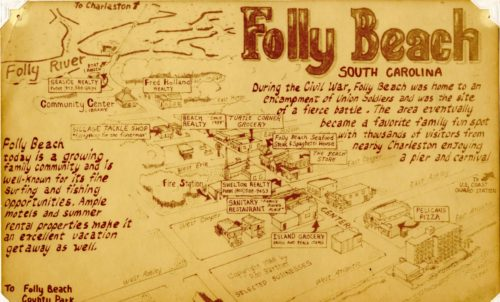 Copy of hand drawn image of Folly Beach labeled with business and street names